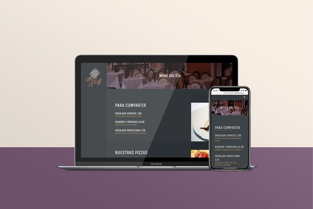 Web carta on line restaurante responsive